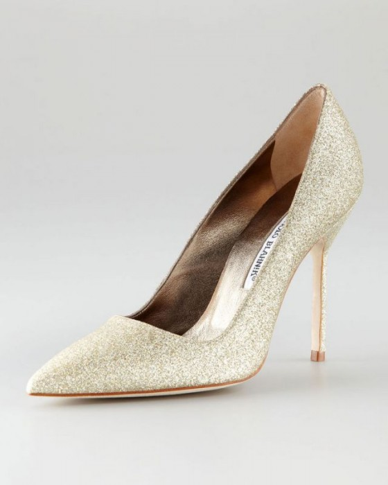decollete glitter dorate manolo blahnik