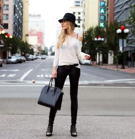 pantaloni neri maglia bianca