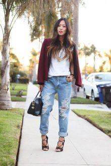 boyfriend jeans con outfit elegant-chic