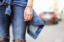 skinny jeans con total denim