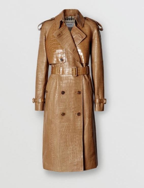 Trench burberry in pelle di coccodrillo